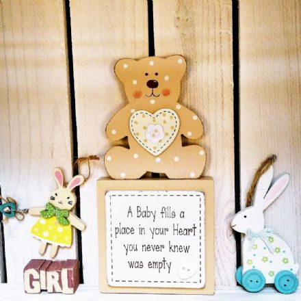 50% off Teddy Baby Block Sign  - A Baby Fills Your Heart